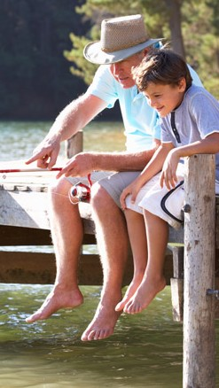 Grandfather and Boy Fishing - Lake George Rentals